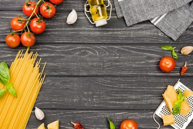 Ingredientes para o quadro de espaguete