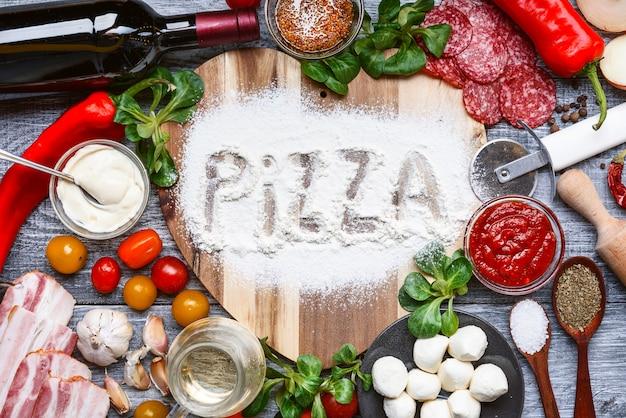Ingredientes para uma deliciosa pizza tradicional italiana