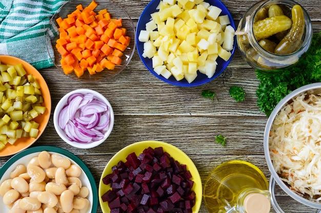 Ingredientes preparados para cozinhar vista superior