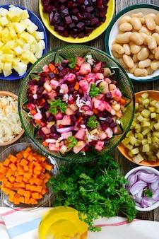 Ingredientes preparados para salada