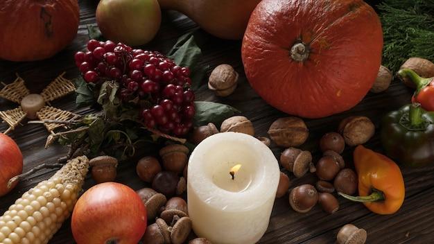 Ingredientes sazonais no dia de ação de graças.