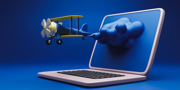 Inicialização de negócios, laptop e avião