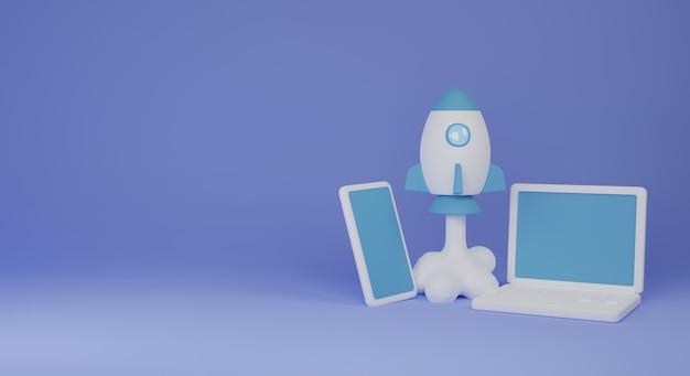 Inicie um projeto de negócios com ilustração de renderização em 3d de foguete e telefone celular