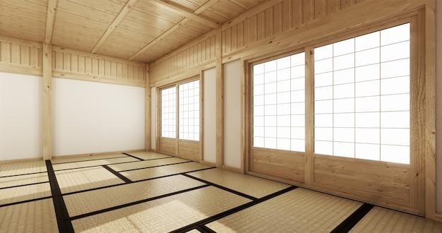 Iniorior de sala de ioga vazia com piso de tatame