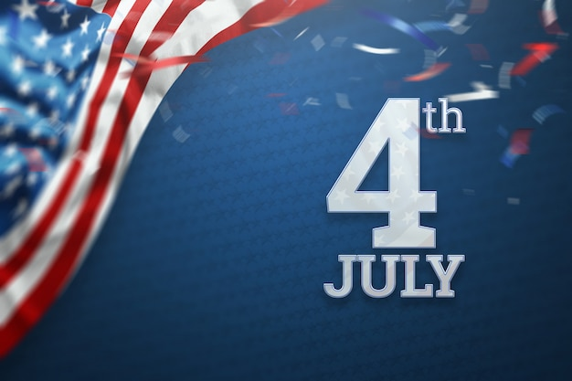 Inscrição 4 de julho em um fundo azul