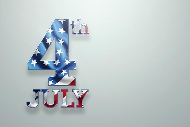Inscrição 4 de julho em um fundo claro
