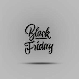 Inscrição caligráfica preta escrita à mão negra sexta-feira no conceito de venda de fundo cinza