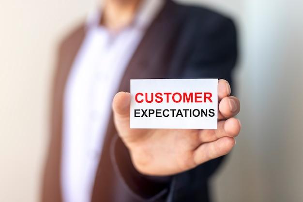 Inscrição conceitual de expectativas do cliente. atendimento e atendimento ao cliente.