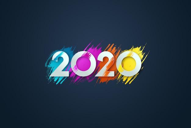 Inscrição de ano novo 2020, sobre um fundo azul.