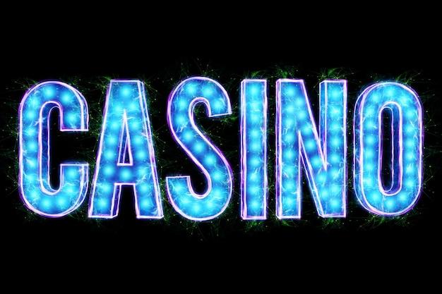 Inscrição de casino de néon, sobre um fundo preto e isolado. modelo de design. conceito de cassino, jogos de azar, cabeçalho para o site. copie o espaço, ilustração 3d, renderização 3d.