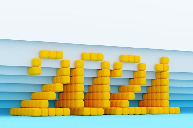 Inscrição de ilustração 3d 2021 de pequenos cubos amarelos sobre fundo azul isolado. ilustração do símbolo do ano novo.