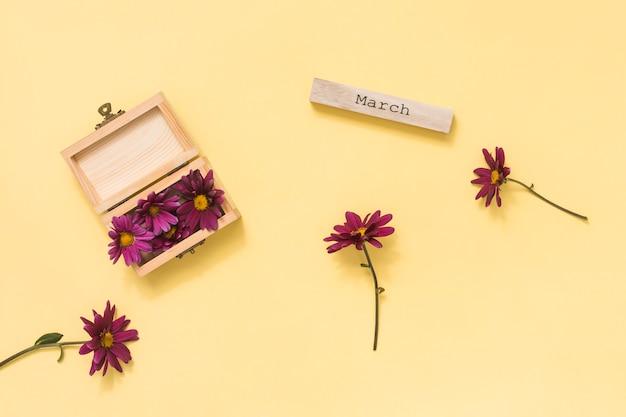 Inscrição de março com flores rosa na mesa