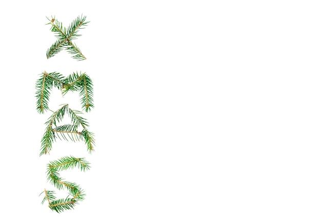 Inscrição de natal de galhos de árvore do abeto