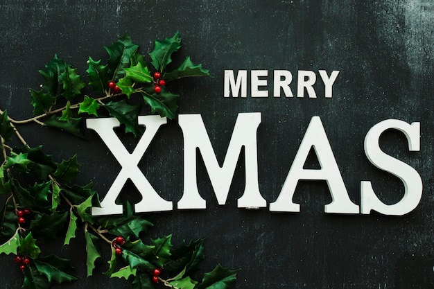 Inscrição de natal feliz com ramos de azevinho