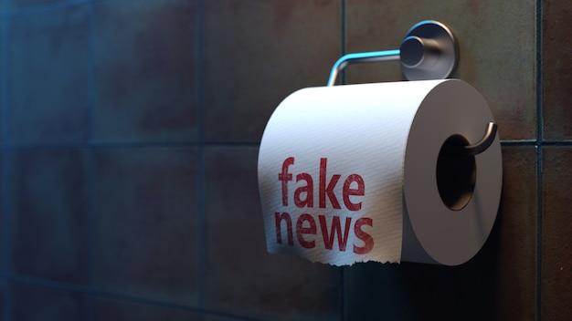 Inscrição de notícias falsas em papel higiênico no banheiro