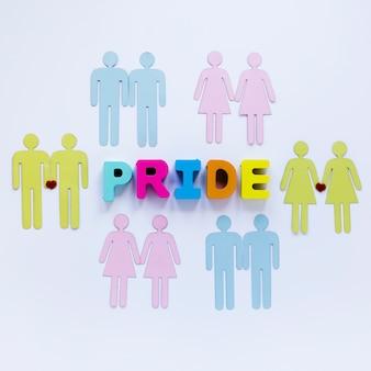 Inscrição de orgulho com ícones de casais homossexuais