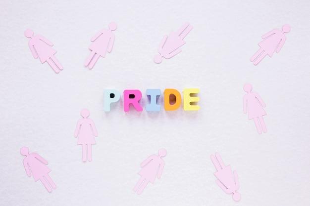 Inscrição de orgulho com ícones de gênero feminino