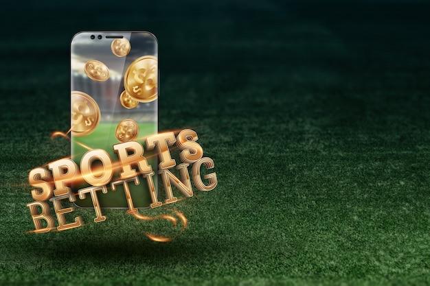Inscrição de ouro, apostas desportivas em um smartphone em um fundo de relva verde.