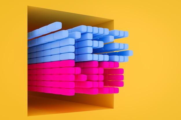 Inscrição sim e não feita de cubos rosa e azuis em um fundo monocromático isolado. o conceito de escolha, incerteza