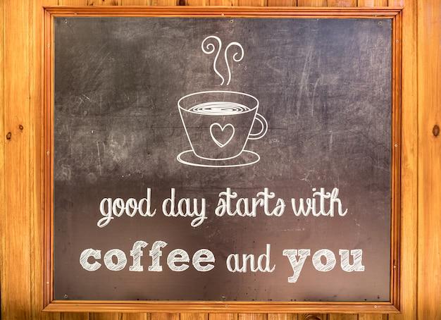 Inscrição sobre café em uma placa