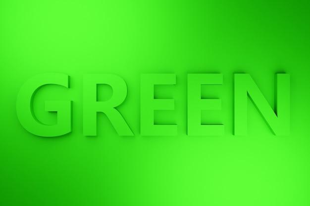 Inscrição volumétrica da ilustração 3d em letras verdes sobre um fundo verde brilhante isolado. símbolo de cor