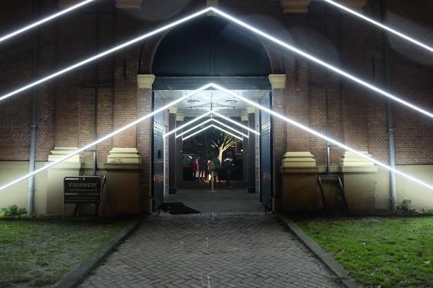 Instalação de arte leve em um festival