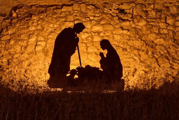 Instalação de natal sobre o tema do nascimento de jesus cristo