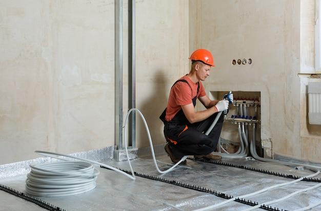 Instalação de piso quente