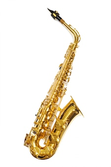 Instrumento de jazz saxofone isolado