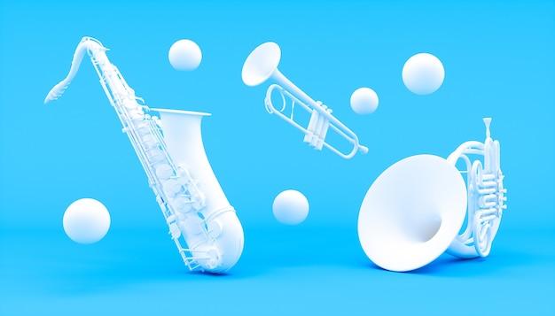 Instrumentos de sopro brancos em um fundo azul, ilustração 3d