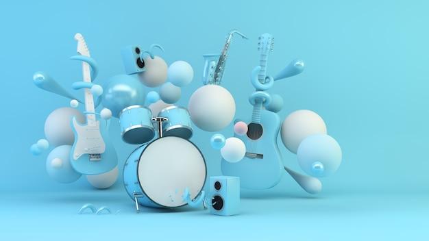 Instrumentos musicais azuis rodeados por formas geométricas, fundo renderização em 3d