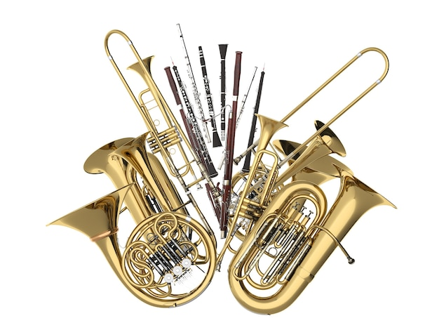 Instrumentos musicais de sopro em branco