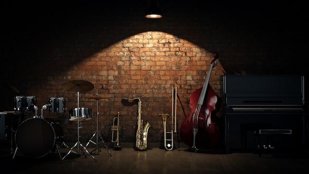 Instrumentos musicais renderização em 3d