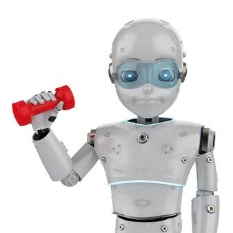 Instrutor de fitness de automação com robô fofo de renderização em 3d segurando halteres vermelhos sobre fundo branco