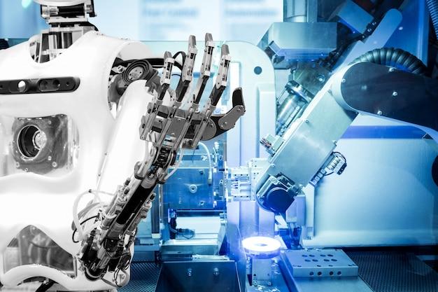 Inteligência artificial na robótica industrial em fundo de cor de tom azul