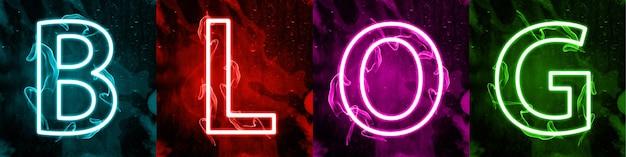 Interações da mídia social em luz neon colorida. marketing digital na internet, termo da mídia de massa moderna. assine contra um fundo escuro. letras coloridas estilizadas do banner do blog.
