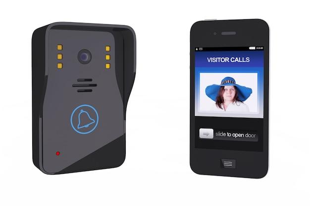 Intercomunicador de vídeo moderno com controlador de telefone móvel em um fundo branco