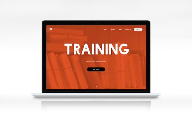 Interface da página da web online de ensino à distância