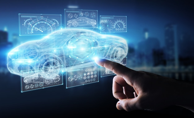 Interface de carro inteligente moderno de empresário