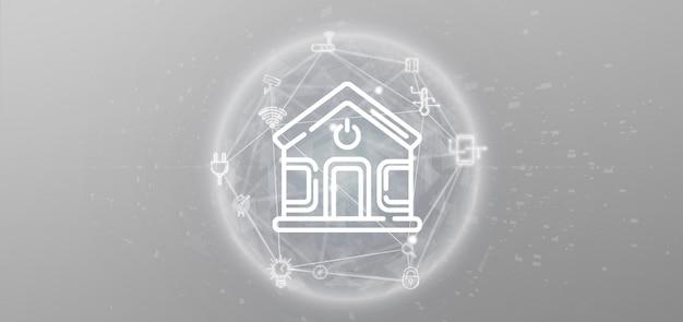 Interface de casa inteligente com ícone, estatísticas e dados