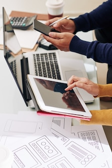 Interface de teste de designer e desenvolvedor