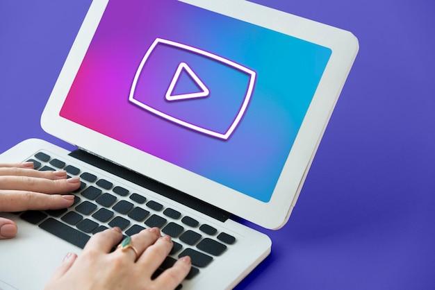 Interface do botão de reprodução de entretenimento multimídia