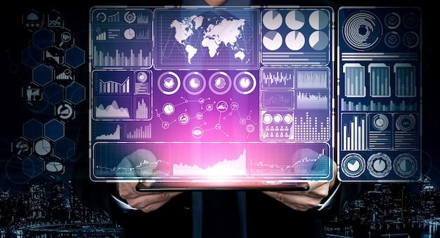 Interface gráfica moderna mostra informações massivas de relatório de vendas de negócios, gráfico de lucro e análise de tendências do mercado de ações no monitor de tela.