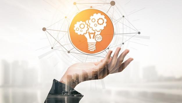 Interface gráfica moderna mostrando o símbolo de ideias inovadoras pensando