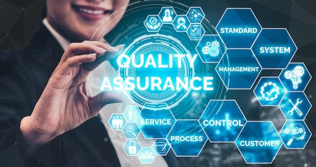 Interface gráfica moderna mostrando processo padrão certificado, garantia do produto e tecnologia de melhoria de qualidade para satisfação do cliente