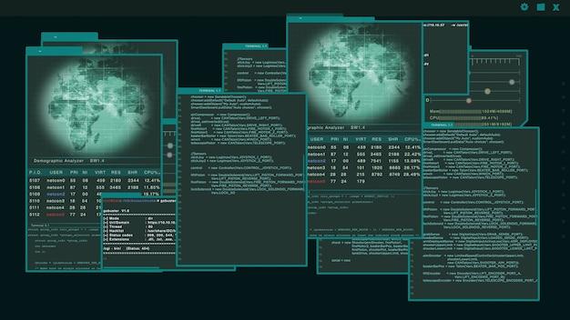 Interface virtual ou hud exibindo várias janelas com código de hacker em execução sobre fundo verde. problema de segurança