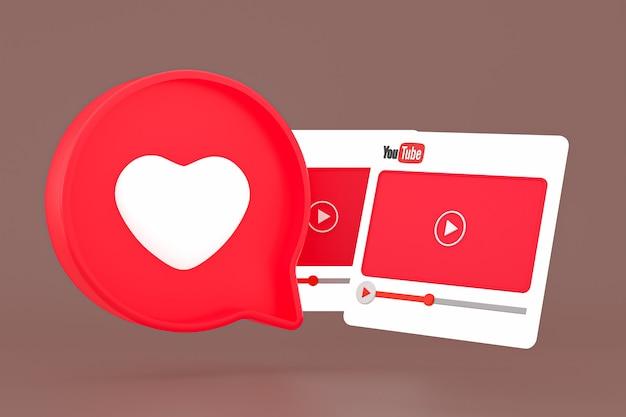 Interfaces do player de mídia do youtube e ícone de coração