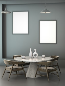 Interior 3d abstrato do café com uma mesa redonda do granito.