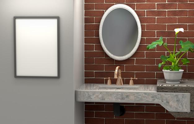 Interior 3d do banheiro. mobília abstrata com um espelho e um quadro vazio.