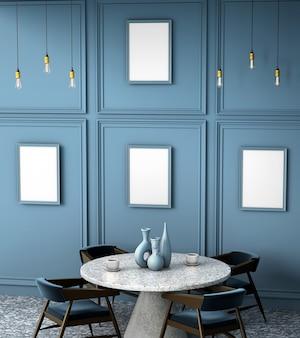 Interior 3d do café com uma mesa redonda do granito.